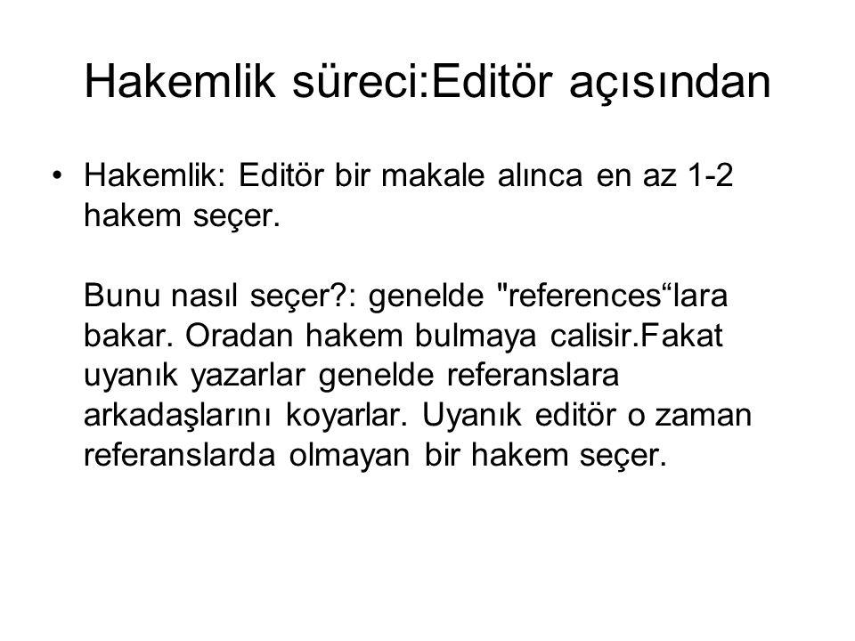 Hakemlik süreci:Editör açısından Hakemlik: Editör bir makale alınca en az 1-2 hakem seçer. Bunu nasıl seçer?: genelde