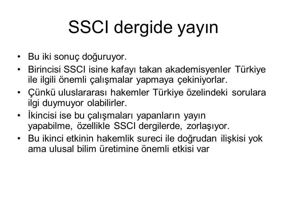 SSCI dergide yayın Bu iki sonuç doğuruyor. Birincisi SSCI isine kafayı takan akademisyenler Türkiye ile ilgili önemli çalışmalar yapmaya çekiniyorlar.