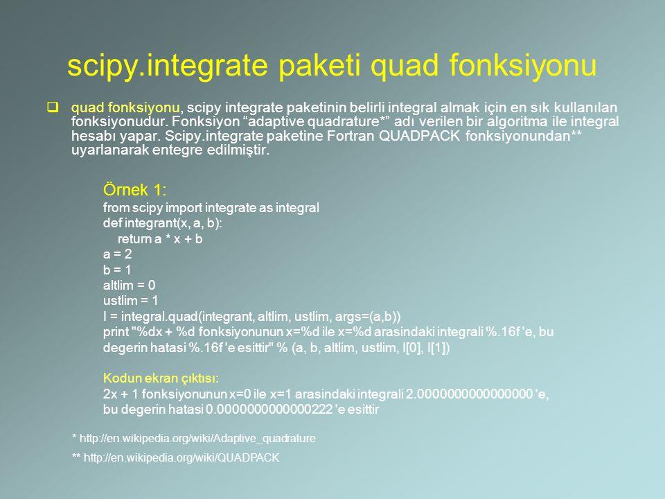 scipy.integrate paketi quad fonksiyonu  quad fonksiyonu, scipy integrate paketinin belirli integral almak için en sık kullanılan fonksiyonudur. Fonks