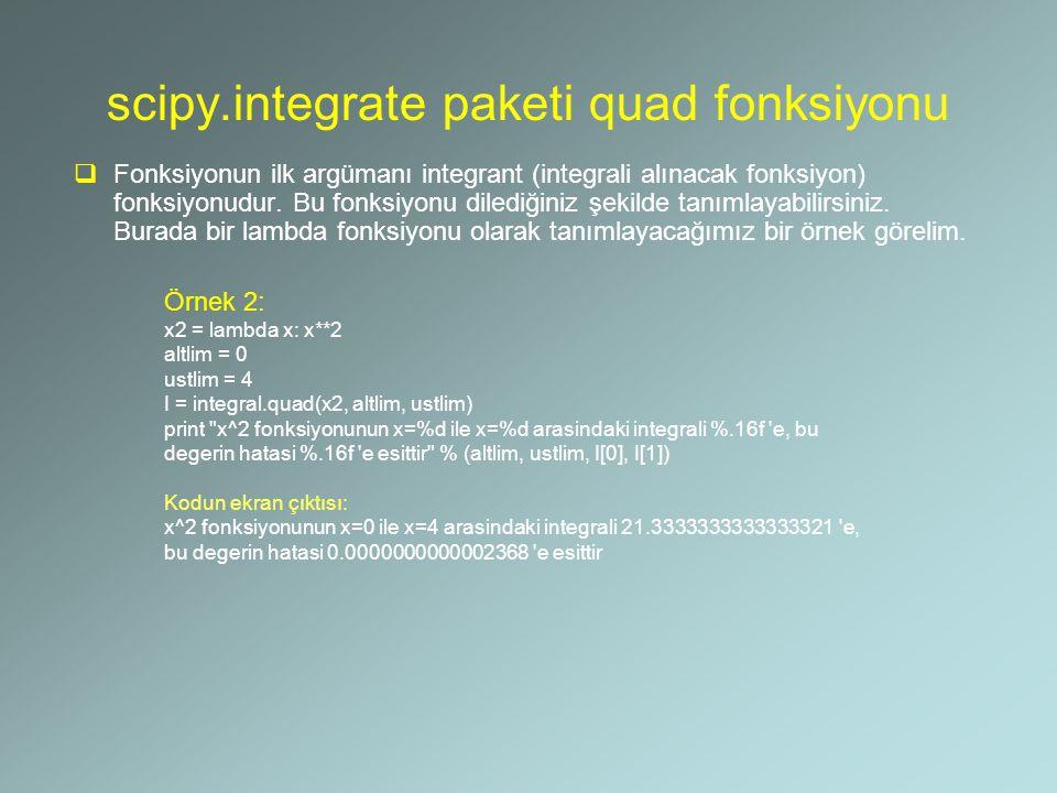 scipy.integrate paketi quad fonksiyonu  Fonksiyonun ilk argümanı integrant (integrali alınacak fonksiyon) fonksiyonudur. Bu fonksiyonu dilediğiniz şe