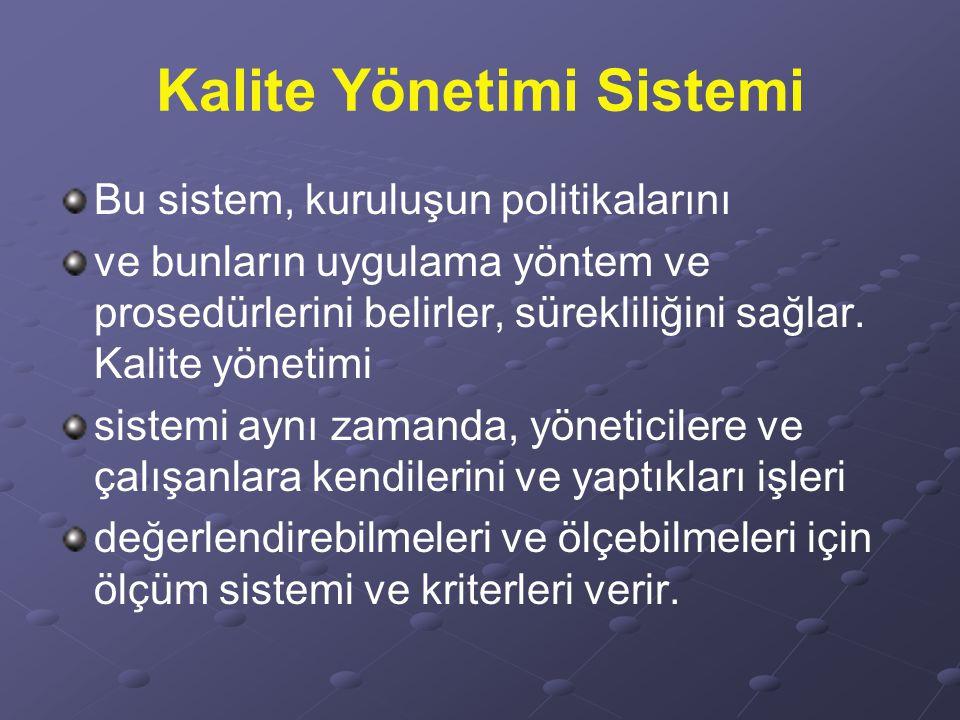Kalite Yönetimi Sistemi Bu sistem, kuruluşun politikalarını ve bunların uygulama yöntem ve prosedürlerini belirler, sürekliliğini sağlar. Kalite yönet