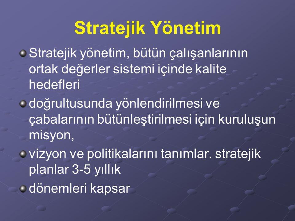 Stratejik Yönetim Stratejik yönetim, bütün çalışanlarının ortak değerler sistemi içinde kalite hedefleri doğrultusunda yönlendirilmesi ve çabalarının