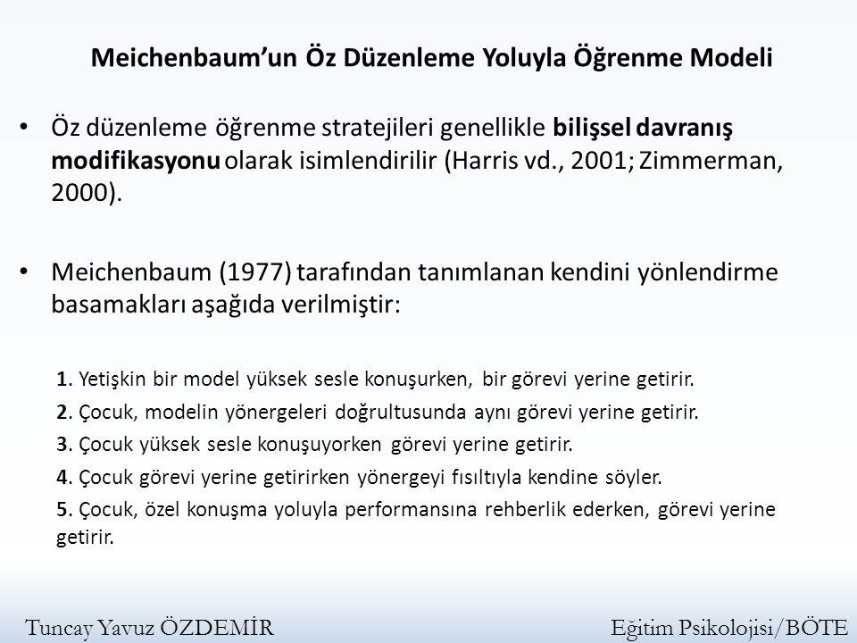 Öz düzenleme öğrenme stratejileri genellikle bilişsel davranış modifikasyonu olarak isimlendirilir (Harris vd., 2001; Zimmerman, 2000). Meichenbaum (1