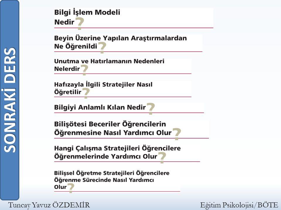 SONRAKİ DERS Tuncay Yavuz ÖZDEMİR Eğitim Psikolojisi/BÖTE