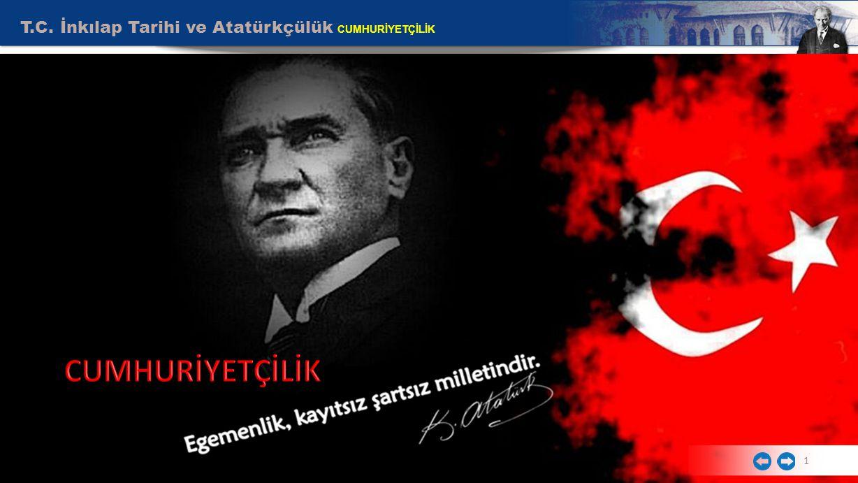T.C.İnkılap Tarihi ve Atatürkçülük CUMHURİYETÇİLİK Egemenlik kayıtsız şartsız milletindir.