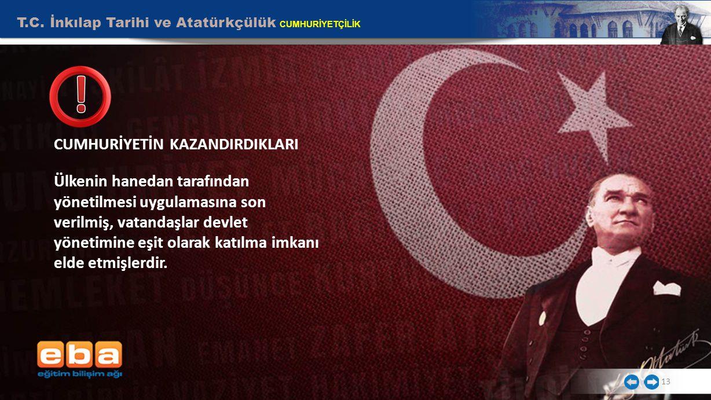 T.C. İnkılap Tarihi ve Atatürkçülük CUMHURİYETÇİLİK CUMHURİYETİN KAZANDIRDIKLARI Ülkenin hanedan tarafından yönetilmesi uygulamasına son verilmiş, vat