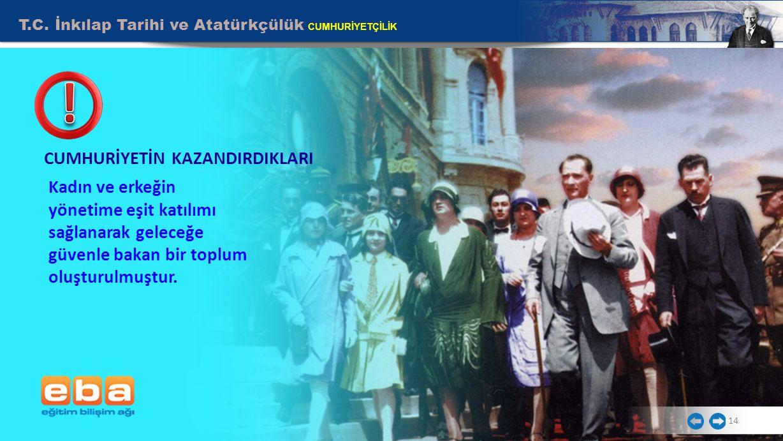T.C. İnkılap Tarihi ve Atatürkçülük CUMHURİYETÇİLİK Kadın ve erkeğin yönetime eşit katılımı sağlanarak geleceğe güvenle bakan bir toplum oluşturulmuşt