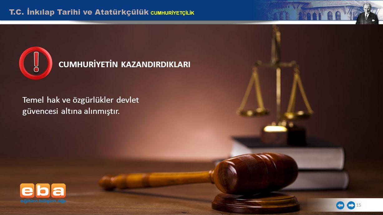 T.C. İnkılap Tarihi ve Atatürkçülük CUMHURİYETÇİLİK Temel hak ve özgürlükler devlet güvencesi altına alınmıştır. 15 CUMHURİYETİN KAZANDIRDIKLARI