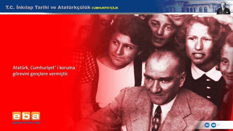 17 T.C. İnkılap Tarihi ve Atatürkçülük CUMHURİYETÇİLİK Atatürk, Cumhuriyet' i koruma görevini gençlere vermiştir.