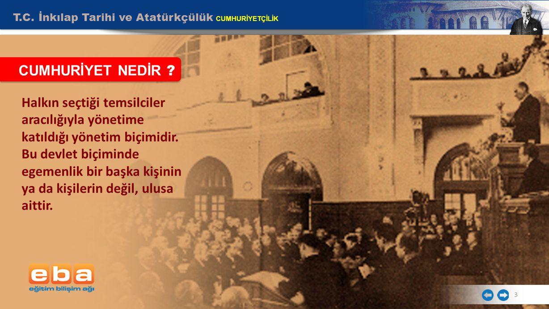 T.C. İnkılap Tarihi ve Atatürkçülük CUMHURİYETÇİLİK 3 CUMHURİYET NEDİR ? Halkın seçtiği temsilciler aracılığıyla yönetime katıldığı yönetim biçimidir.