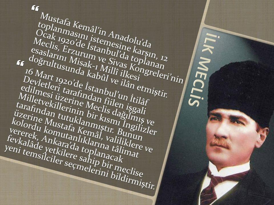  Mustafa Kemâl'in Anadolu'da toplanmasını istemesine karşın, 12 Ocak 1920'de İstanbul'da toplanan Meclis, Erzurum ve Sivas Kongreleri'nin esaslarını Misak-ı Millî ilkesi doğrultusunda kabûl ve ilân etmiştir.