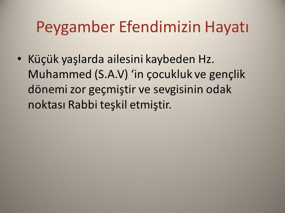 Peygamber Efendimizin Hayatı Küçük yaşlarda ailesini kaybeden Hz. Muhammed (S.A.V) 'in çocukluk ve gençlik dönemi zor geçmiştir ve sevgisinin odak nok