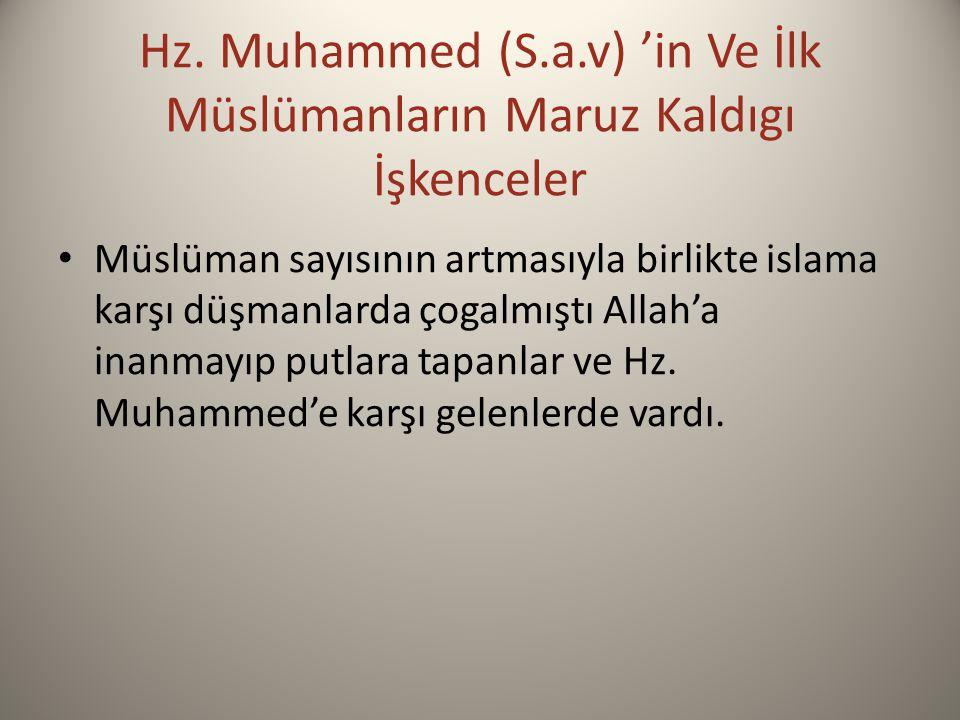 Hz. Muhammed (S.a.v) 'in Ve İlk Müslümanların Maruz Kaldıgı İşkenceler Müslüman sayısının artmasıyla birlikte islama karşı düşmanlarda çogalmıştı Alla