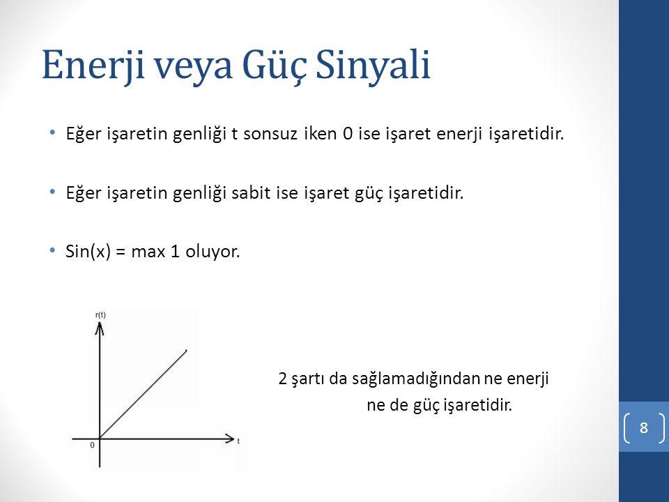 Enerji veya Güç Sinyali Eğer işaretin genliği t sonsuz iken 0 ise işaret enerji işaretidir.