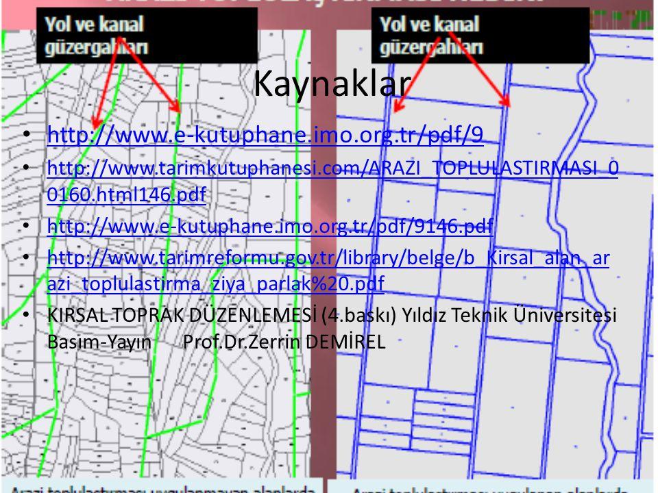 Kaynaklar http://www.e-kutuphane.imo.org.tr/pdf/9 http://www.tarimkutuphanesi.com/ARAZI_TOPLULASTIRMASI_0 0160.html146.pdf http://www.tarimkutuphanesi