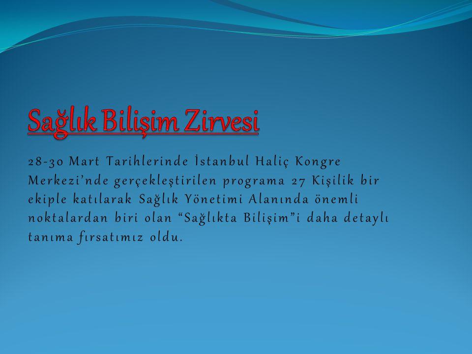 28-30 Mart Tarihlerinde İstanbul Haliç Kongre Merkezi'nde gerçekleştirilen programa 27 Kişilik bir ekiple katılarak Sağlık Yönetimi Alanında önemli no