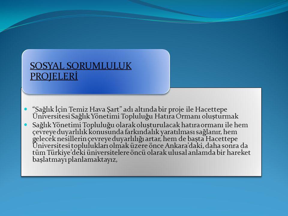 """""""Sağlık İçin Temiz Hava Şart"""" adı altında bir proje ile Hacettepe Üniversitesi Sağlık Yönetimi Topluluğu Hatıra Ormanı oluşturmak Sağlık Yönetimi Topl"""