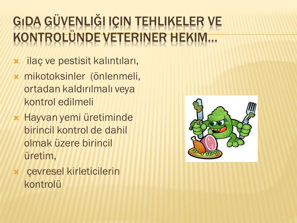  ilaç ve pestisit kalıntıları,  mikotoksinler (önlenmeli, ortadan kaldırılmalı veya kontrol edilmeli  Hayvan yemi üretiminde birincil kontrol de da