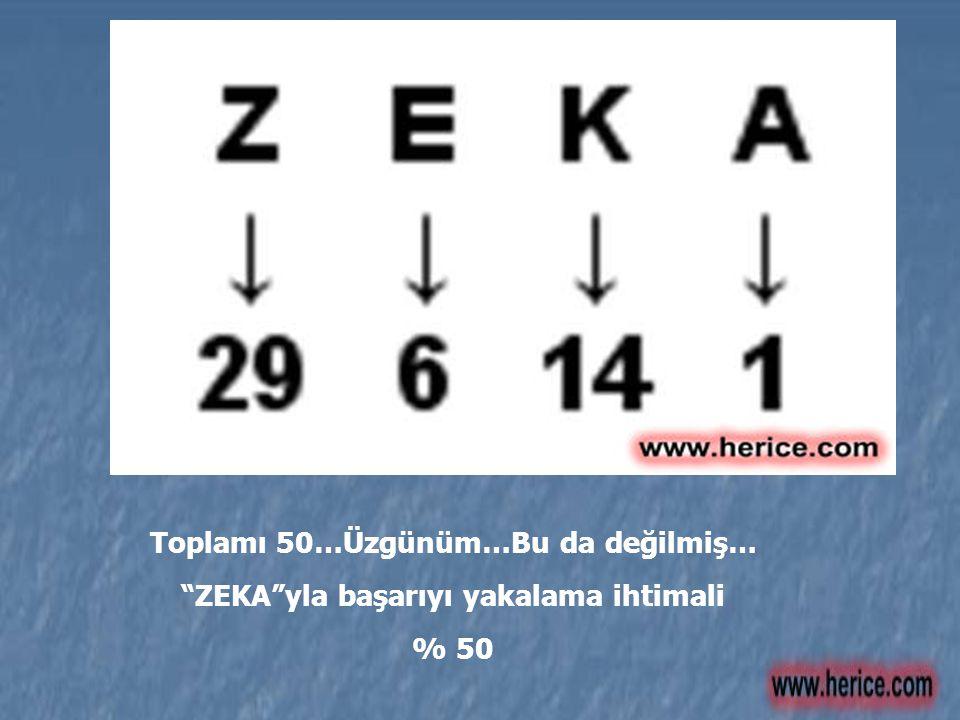 """Toplamı 50…Üzgünüm…Bu da değilmiş… """"ZEKA""""yla başarıyı yakalama ihtimali % 50"""