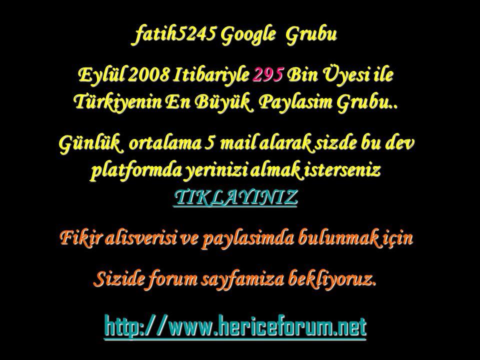 fatih5245 Google Grubu Eylül 2008 Itibariyle 295 Bin Üyesi ile Türkiyenin En Büyük Paylasim Grubu.. Günlük ortalama 5 mail alarak sizde bu dev platfor