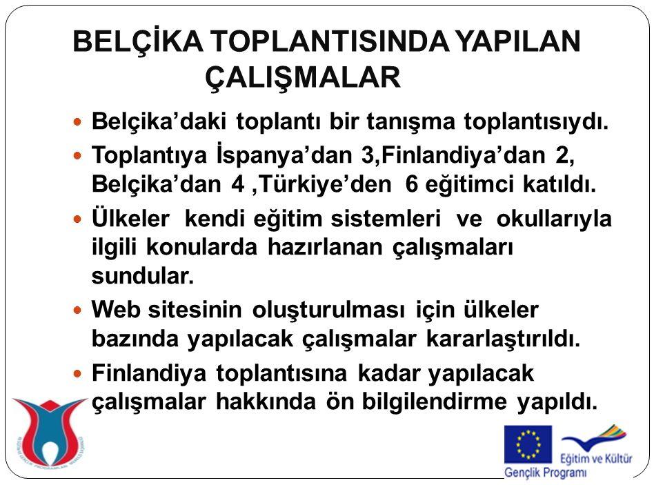 BELÇİKA TOPLANTISINDA YAPILAN ÇALIŞMALAR Belçika'daki toplantı bir tanışma toplantısıydı. Toplantıya İspanya'dan 3,Finlandiya'dan 2, Belçika'dan 4,Tür