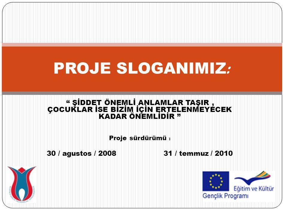 ŞİDDET ÖNEMLİ ANLAMLAR TAŞIR, ÇOCUKLAR İSE BİZİM İÇİN ERTELENMEYECEK KADAR ÖNEMLİDİR Proje sürdürümü : 30 / agustos / 2008 31 / temmuz / 2010 PROJE SLOGANIMIZ :