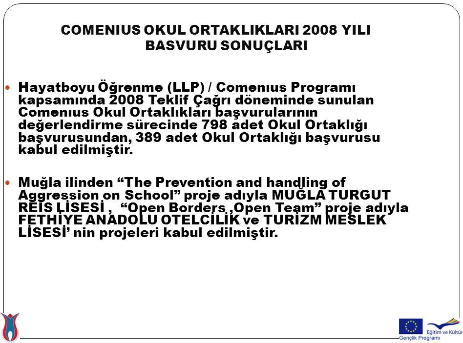 COMENIUS OKUL ORTAKLIKLARI 2008 YILI BASVURU SONUÇLARI Hayatboyu Öğrenme (LLP) / Comenıus Programı kapsamında 2008 Teklif Çağrı döneminde sunulan Come