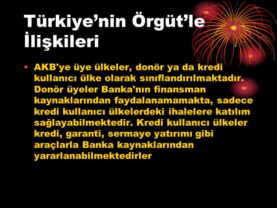 Türkiye'nin Örgüt'le İlişkileri AKB ye üye ülkeler, donör ya da kredi kullanıcı ülke olarak sınıflandırılmaktadır.