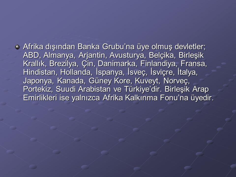 Afrika dışından Banka Grubu'na üye olmuş devletler; ABD, Almanya, Arjantin, Avusturya, Belçika, Birleşik Krallık, Brezilya, Çin, Danimarka, Finlandiya, Fransa, Hindistan, Hollanda, İspanya, İsveç, İsviçre, İtalya, Japonya, Kanada, Güney Kore, Kuveyt, Norveç, Portekiz, Suudi Arabistan ve Türkiye'dir.