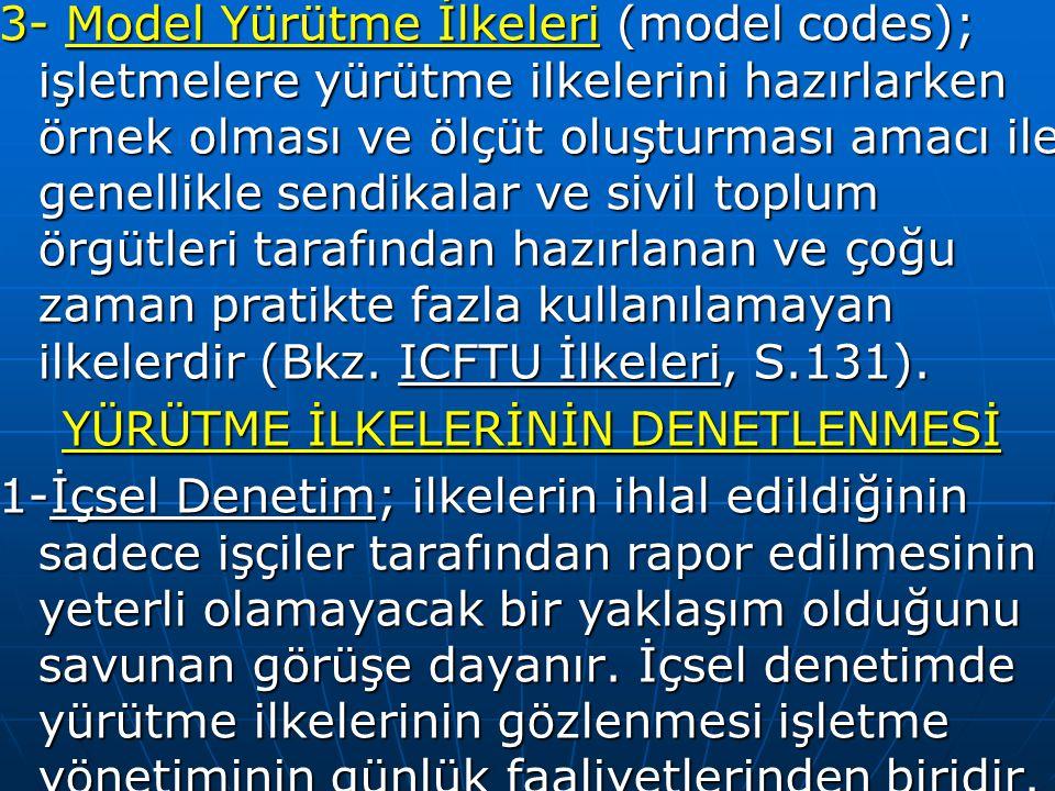 3- Model Yürütme İlkeleri (model codes); işletmelere yürütme ilkelerini hazırlarken örnek olması ve ölçüt oluşturması amacı ile genellikle sendikalar