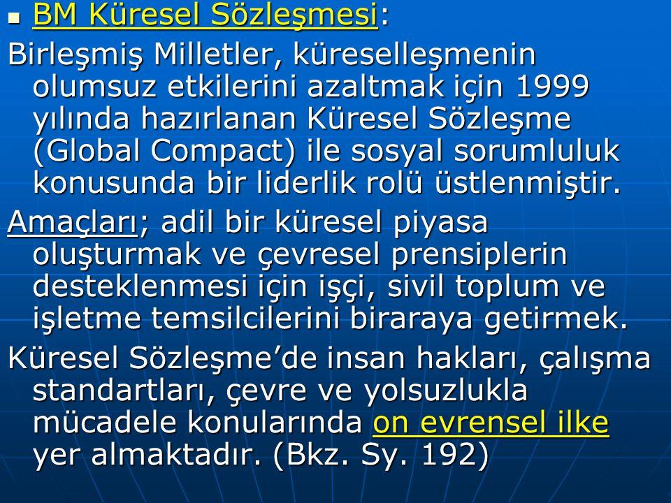 BM Küresel Sözleşmesi: BM Küresel Sözleşmesi: Birleşmiş Milletler, küreselleşmenin olumsuz etkilerini azaltmak için 1999 yılında hazırlanan Küresel Sö