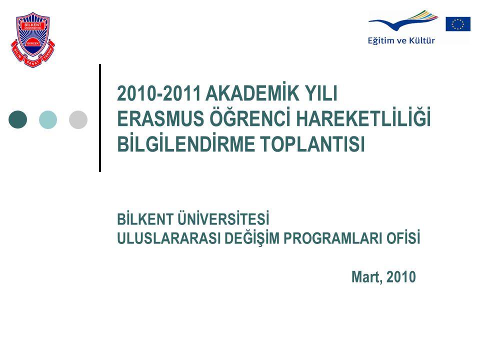 2010-2011 AKADEMİK YILI ERASMUS ÖĞRENCİ HAREKETLİLİĞİ BİLGİLENDİRME TOPLANTISI BİLKENT ÜNİVERSİTESİ ULUSLARARASI DEĞİŞİM PROGRAMLARI OFİSİ Mart, 2010