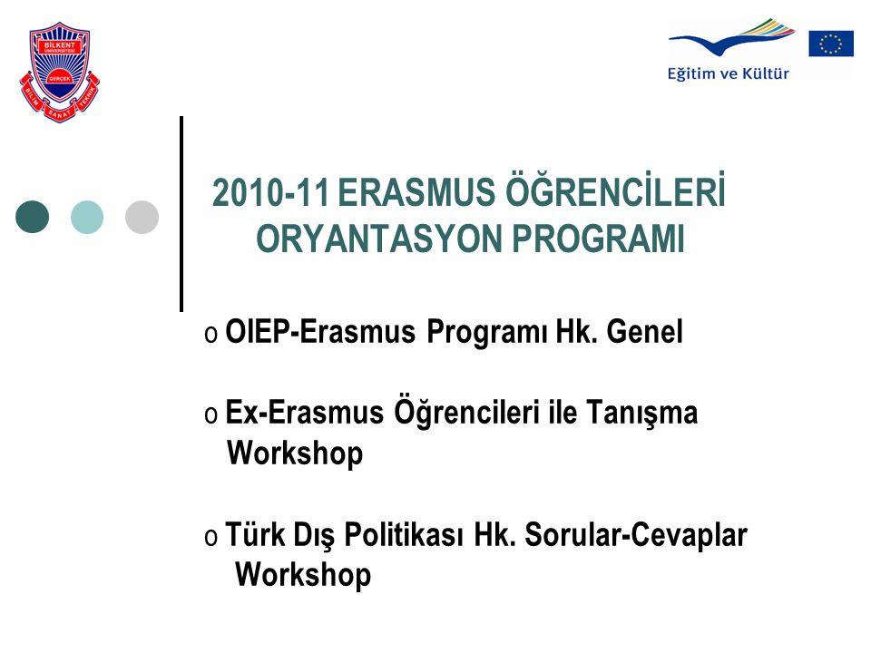 2010-11 ERASMUS ÖĞRENCİLERİ ORYANTASYON PROGRAMI o OIEP-Erasmus Programı Hk. Genel o Ex-Erasmus Öğrencileri ile Tanışma Workshop o Türk Dış Politikası