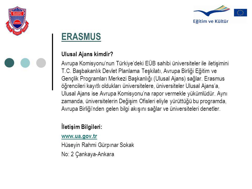 ERASMUS Ulusal Ajans kimdir? Avrupa Komisyonu'nun Türkiye'deki EÜB sahibi üniversiteler ile iletişimini T.C. Başbakanlık Devlet Planlama Teşkilatı, Av