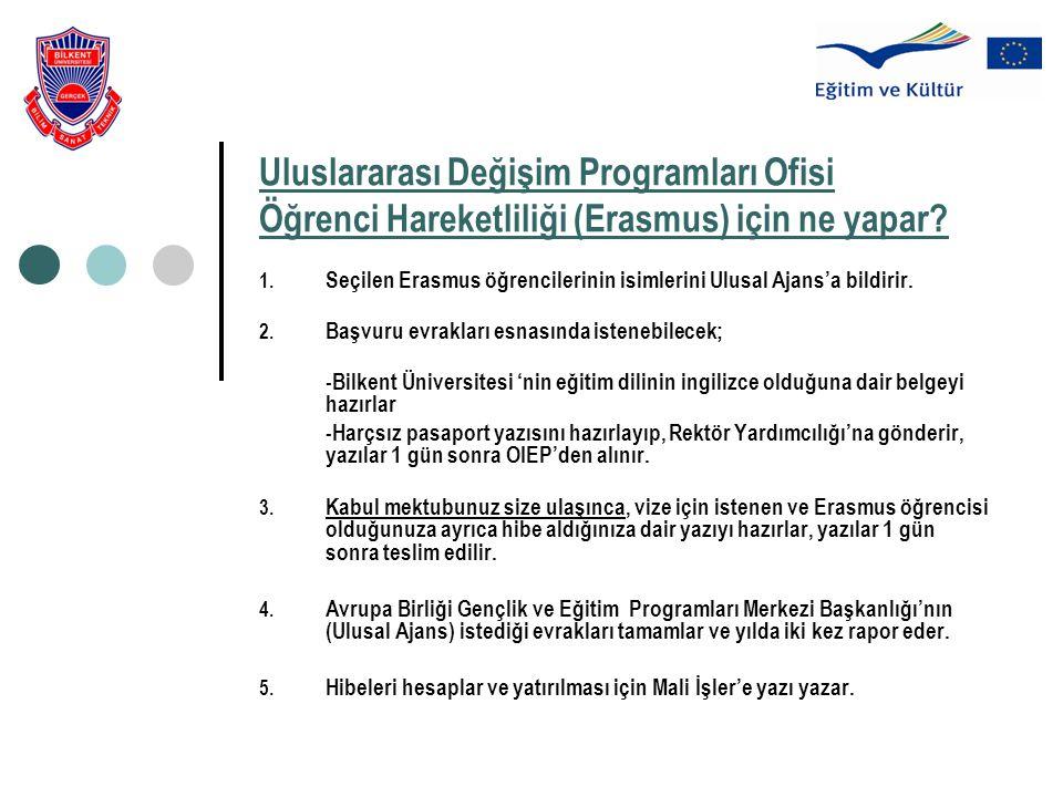 Uluslararası Değişim Programları Ofisi Öğrenci Hareketliliği (Erasmus) için ne yapar? 1. Seçilen Erasmus öğrencilerinin isimlerini Ulusal Ajans'a bild