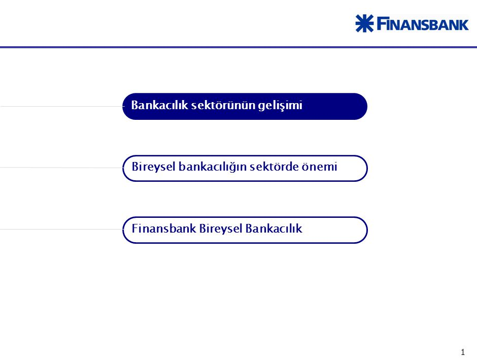 1 Finansbank Bireysel Bankacılık Bankacılık sektörünün gelişimi Bireysel bankacılığın sektörde önemi