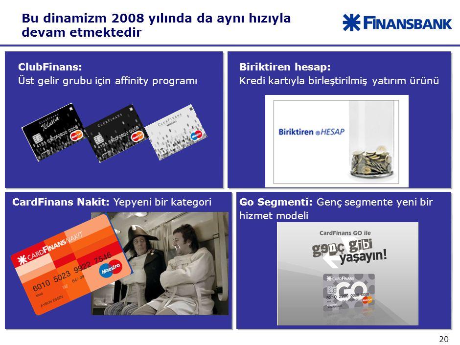 20 Go Segmenti: Genç segmente yeni bir hizmet modeli Bu dinamizm 2008 yılında da aynı hızıyla devam etmektedir ClubFinans: Üst gelir grubu için affinity programı Biriktiren hesap: Kredi kartıyla birleştirilmiş yatırım ürünü CardFinans Nakit: Yepyeni bir kategori