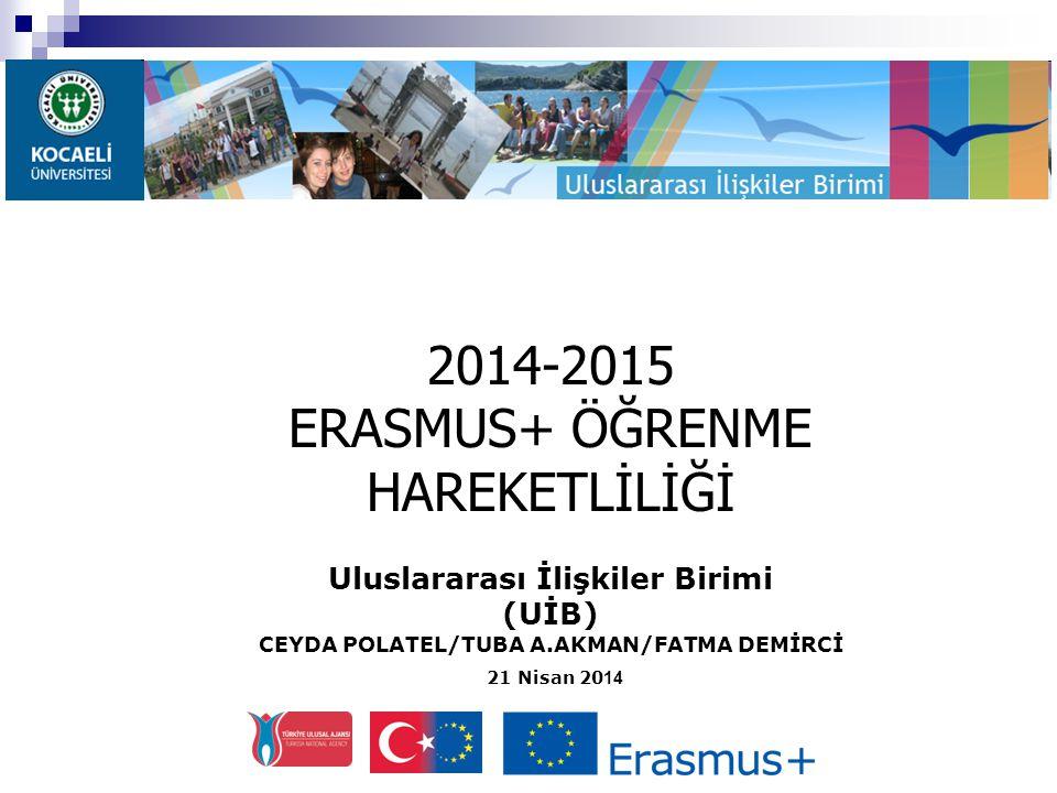 Uluslararası İlişkiler Birimi (UİB) CEYDA POLATEL/TUBA A.AKMAN/FATMA DEMİRCİ 21 Nisan 20 14 2014-2015 ERASMUS+ ÖĞRENME HAREKETLİLİĞİ