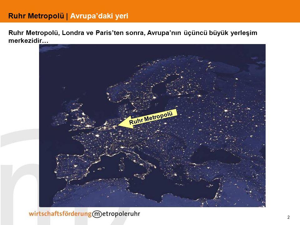 2 Ruhr Metropolü | Avrupa'daki yeri Ruhr Metropolü Ruhr Metropolü, Londra ve Paris'ten sonra, Avrupa'nın üçüncü büyük yerleşim merkezidir…