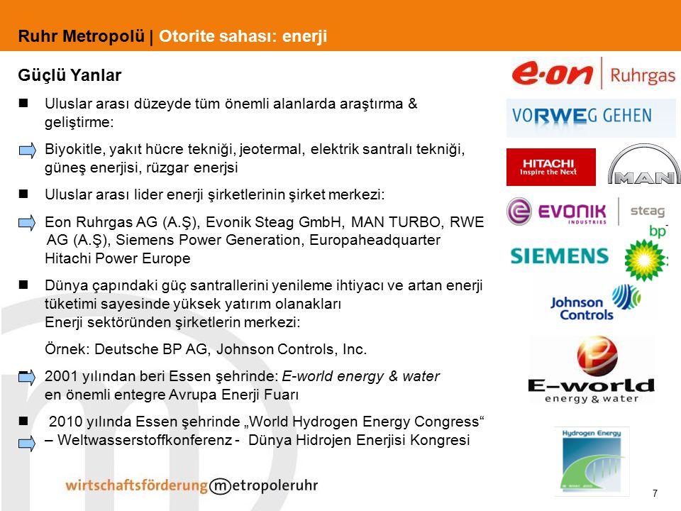 7 Ruhr Metropolü | Otorite sahası: enerji Güçlü Yanlar Uluslar arası düzeyde tüm önemli alanlarda araştırma & geliştirme: Biyokitle, yakıt hücre tekni