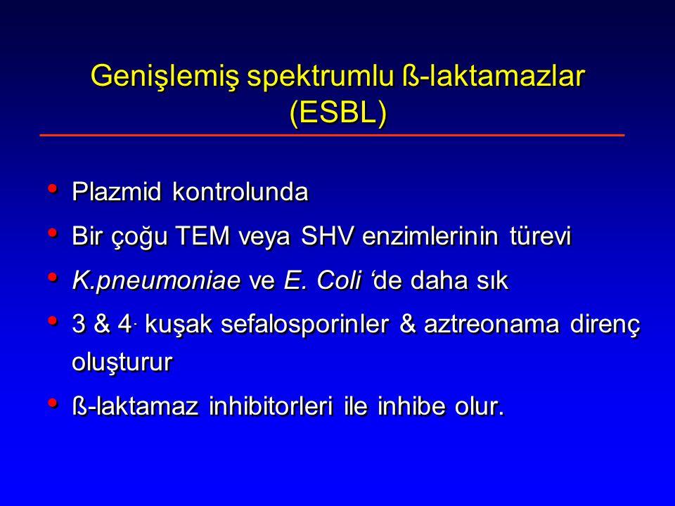 Genişlemiş spektrumlu ß-laktamazlar (ESBL) Plazmid kontrolunda Bir çoğu TEM veya SHV enzimlerinin türevi K.pneumoniae ve E.