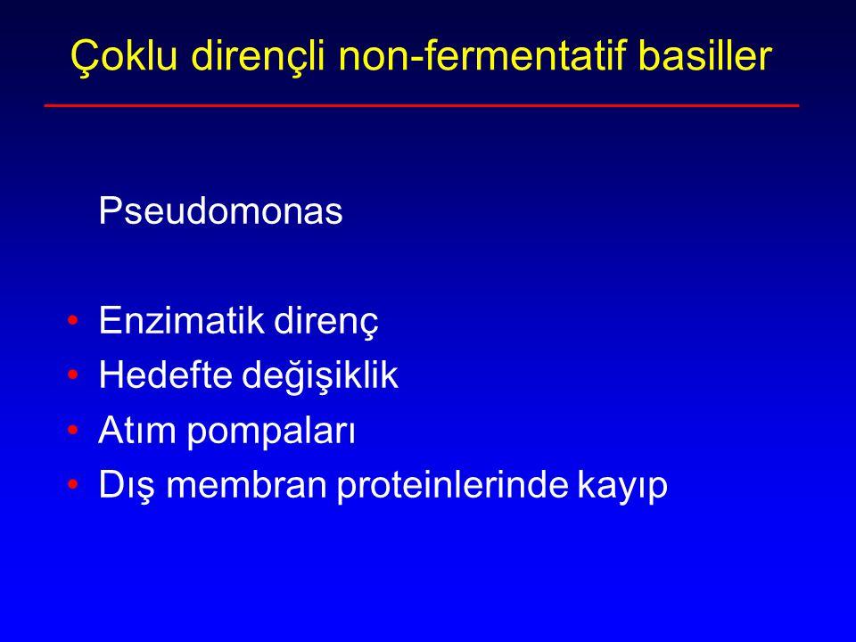 Çoklu dirençli non-fermentatif basiller Pseudomonas Enzimatik direnç Hedefte değişiklik Atım pompaları Dış membran proteinlerinde kayıp