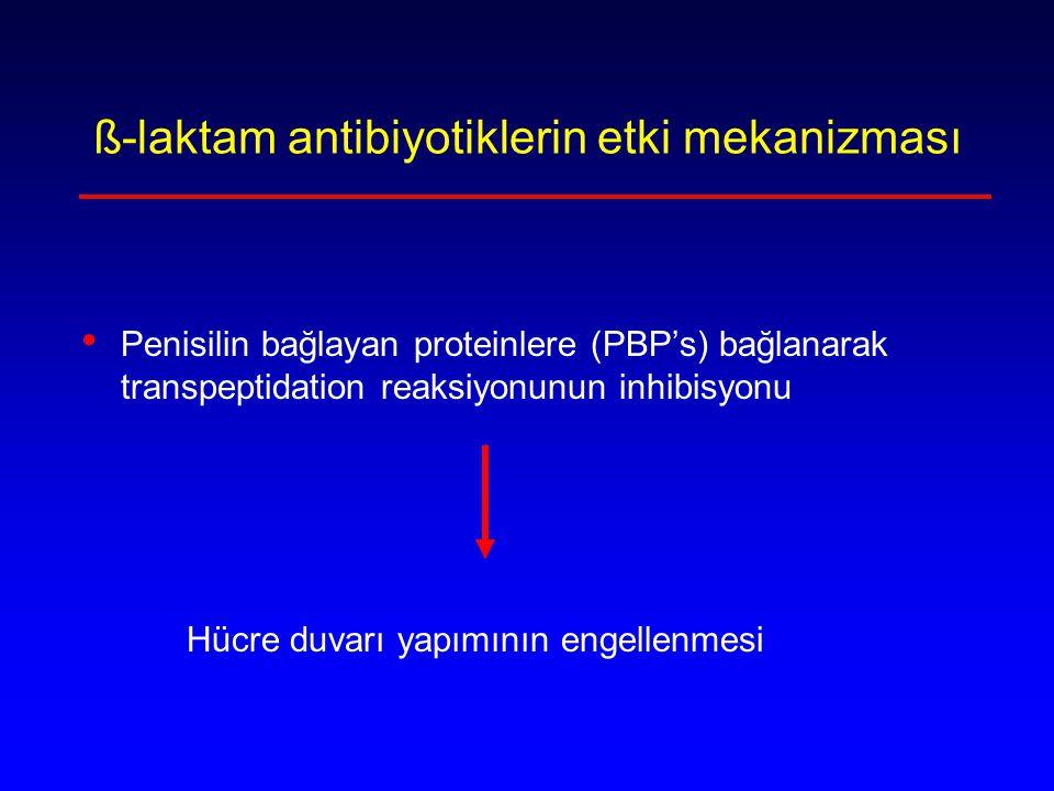 MRSA ve MRSE Metisilin direnci PBP2a (PBP2 ) ile PBP2a'nın ß-laktam antibiyotiklere afinitesi düşük Kromozomda mobil bir elementte bulunan mec A geni tarafından kodlanıyor Staphylococcal cassette chromosome mec (5 SCCmec tipi) Tüm ß-laktamlar ve ß-laktamaz inhibitör kombinasyonlarına dirençli
