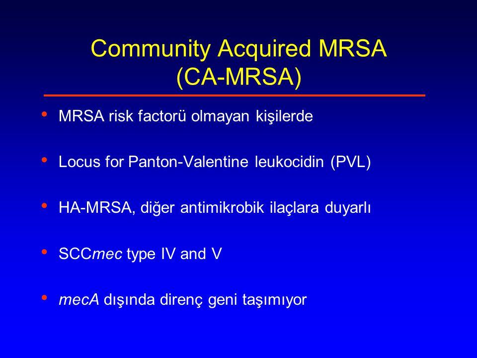 MRSA Epidemiyoloji EARSS raporu 1999-2002 EARSS raporu 1999-2002 50,759 izolat/495 hastane/26 ülke Genel olarak kuzey ülkelerinden (%1) güney ve batıya (>%40)doğru artıyor.