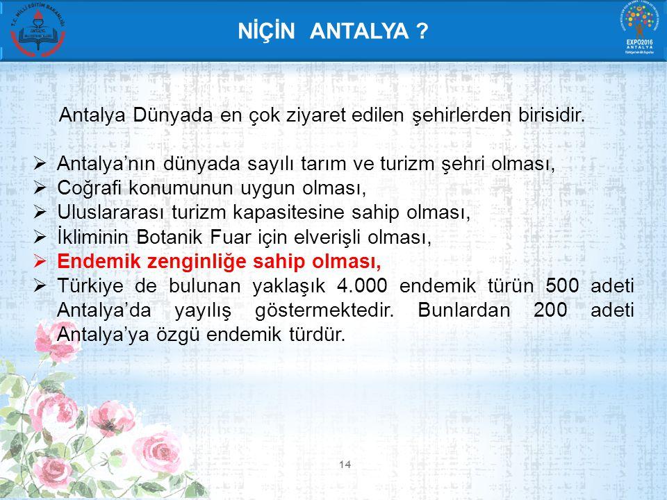 14 NİÇİN ANTALYA . Antalya Dünyada en çok ziyaret edilen şehirlerden birisidir.