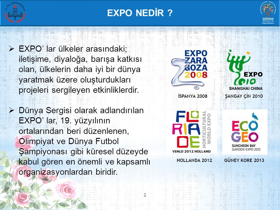 DÜNYA EXPO (WORLD EXPO) TEMATİK EXPO (THEMATIC EXPO) BOTANİK EXPO (HORTICULTURAL EXPO)  6 hafta - 6 ay arasında sürer,  5 yılda bir düzenlenir.