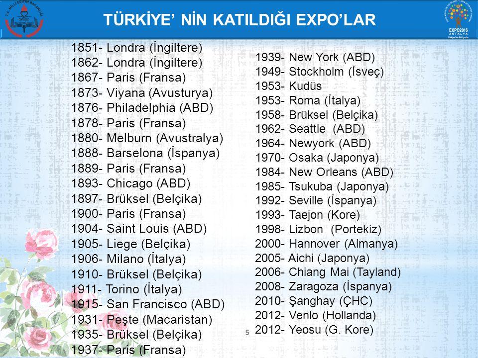 6 DÜNYADA DÜZENLENEN BOTANİK EXPO'LAR 1.1960 - Rotterdam, Hollanda 2.