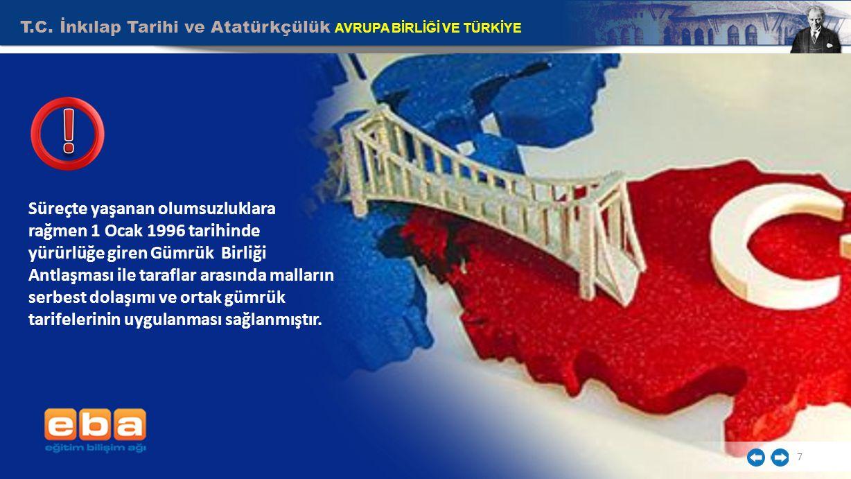 T.C. İnkılap Tarihi ve Atatürkçülük AVRUPA BİRLİĞİ VE TÜRKİYE 7 Süreçte yaşanan olumsuzluklara rağmen 1 Ocak 1996 tarihinde yürürlüğe giren Gümrük Bir