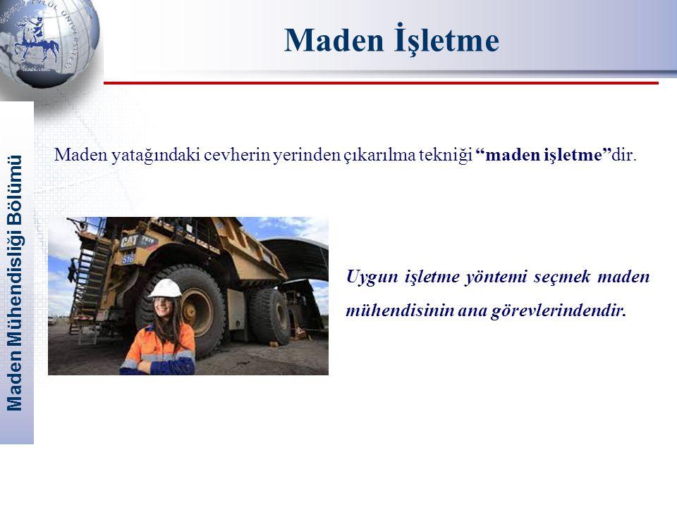"""Maden Mühendisliği Bölümü Maden İşletme Maden yatağındaki cevherin yerinden çıkarılma tekniği """"maden işletme""""dir. Uygun işletme yöntemi seçmek maden m"""
