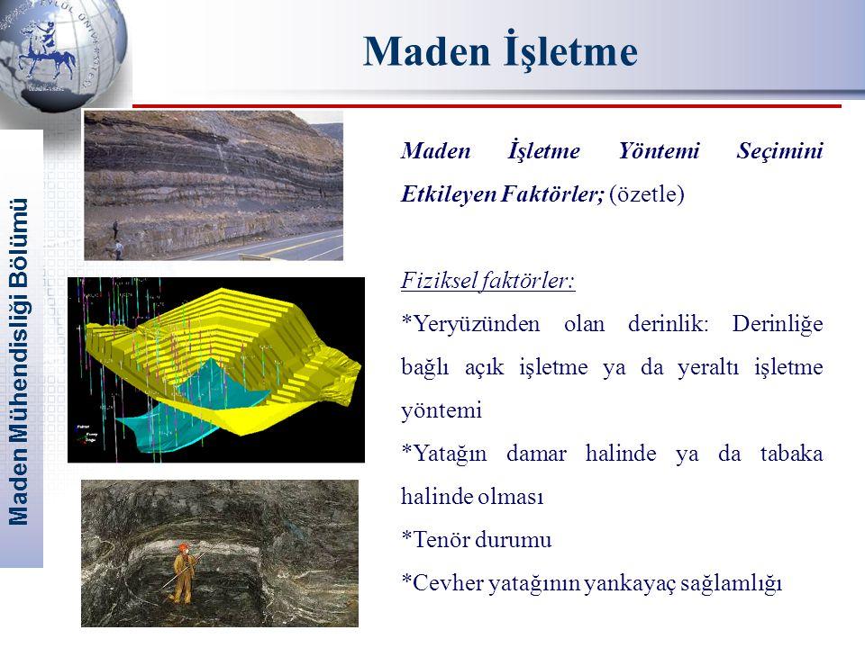 Maden Mühendisliği Bölümü Maden İşletme Maden İşletme Yöntemi Seçimini Etkileyen Faktörler; (özetle) Fiziksel faktörler: *Yeryüzünden olan derinlik: D
